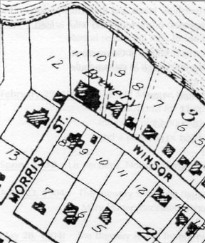 A plat map shows the location of the Mauston Brewery in relation to homes on Morris and Winsor Streets.