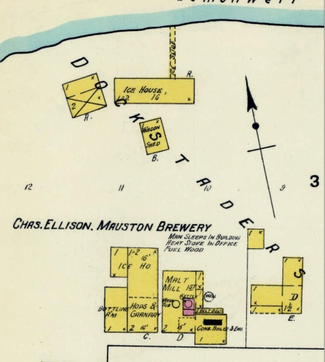 This Sunburn fire map shows the various structures that made up the Mauston Brewery.