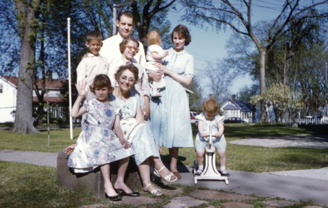 Ruby V. Hanneman with her son Donn and his family in the late 1950s or early 1960s.