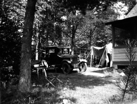 Camp scene from near Hayward, Wis. in July 1925. Pictured is the Ford Model T belonging to Carl F. Hanneman (1901-1982) of Wisconsin Rapids, Wis. Hanneman was on his honeymoon with Ruby V. (Treutel) Hanneman (1904-1977) of Vesper, Wis.