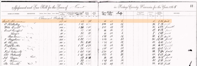 Martin Hannemann's $2.68 Tax Bill for 1868