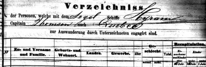 Emigration Records Found for Matthias Hannemann