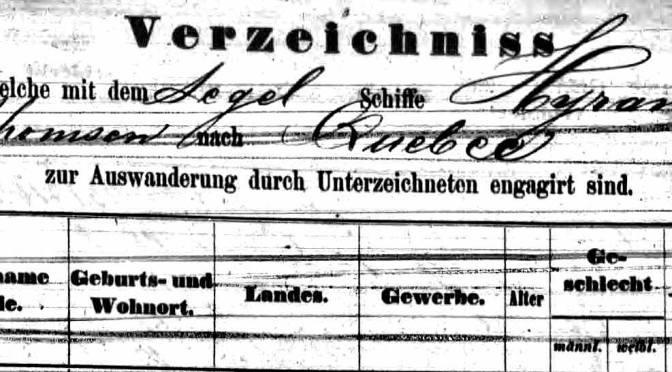 Emigration Records Found for Matthias Hannemann