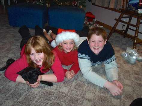 Samantha, Ruby and Stevie, waiting for Christmas with new puppy, Mr. Puggles.