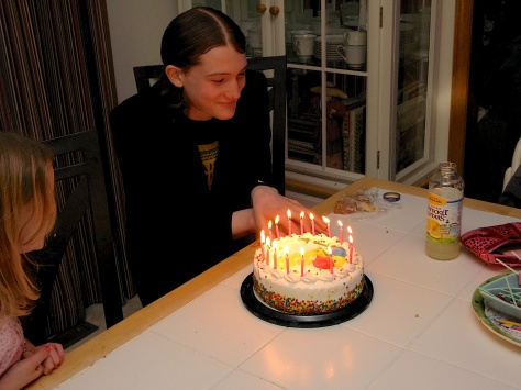 Stevie waits to blow out the candles on his 16th birthday.