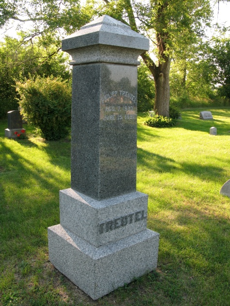 Monument of Philipp Treutel, grandfather of Ruby (Treutel) Hanneman, at North Prairie Cemetery in Waukesha County, Wis.