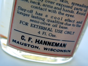 Carl F. Hanneman printed his own labels and wrote the ad copy for Stay Off.