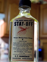 Carl F. Hanneman sold his insect repellent at bars and bait shops all over central Wisconsin. Read more about it here: https://hannemanarchive.com/2014/06/14/stay-off-repellent/