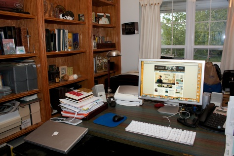 My home office on one of its cleaner days.