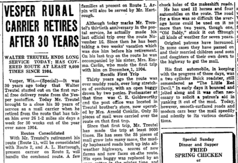 The Wisconsin Rapids Daily Tribune wrote about Walter Treutel's last day on the job in 1934.