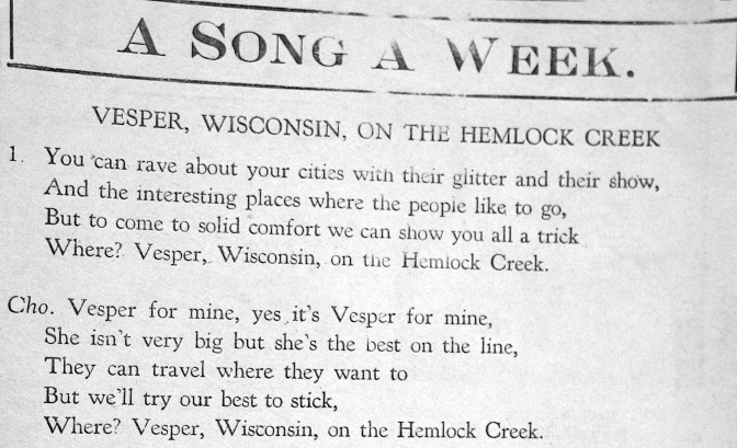 A Village with its Own Song: Vesper on the Hemlock Creek