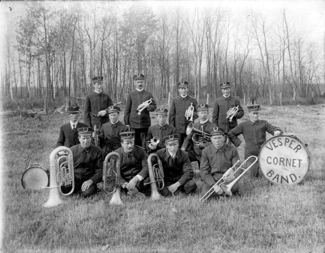 The Vesper Cornet Band performed at the Cameron Park band shelter and other locales around Vesper, Wisconsin. Oscar, Charles and Henry Treutel were band members.