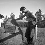 Lavonne and David Hanneman examine a monument on a vacation trip to South Dakota in 1947.