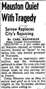 Carl F. Hanneman filed this story with the Wisconsin State Journal on December 8, 1942.