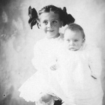 Ruby Treutel holds her baby brother Gordon, circa 1910. Gordon died of pneumonia in February 1911.