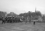 The Mauston High School Band after leaving the football field during a homecoming game in the 1940s.