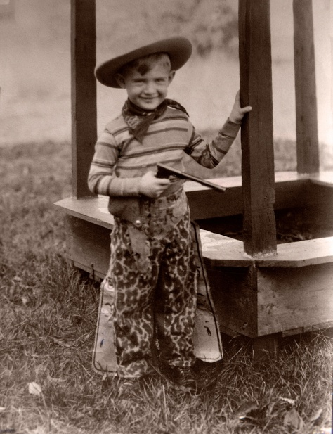 A bit older Donn Hanneman in his latest cowboy getup, circa 1933.