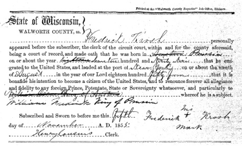 On November 5, 1855, Frederick Krosch (1799-1876) filed his declaration of intent to become a U.S. Citizen.