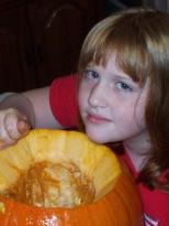 Samantha Hanneman carves her pumpkin, circa 2002.