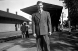 Donn G. Hanneman at the Mauston rail station, circa 1944.