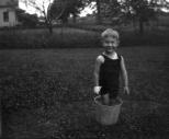 Donn G. Hanneman in the world's smallest swimming pool.