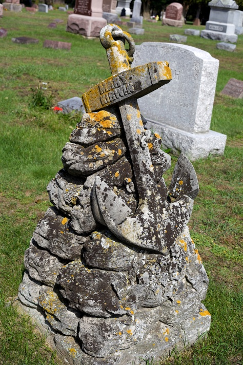 This anchor-themed monument is at St. Mary's Catholic Cemetery in Portage, Wisconsin.