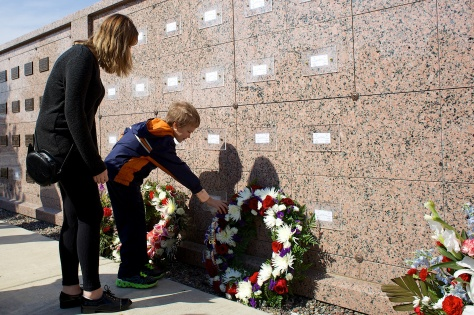 Ron LaCanne was entombed Wednesday at Southern Wisconsin Veterans Memorial Cemetery in  Union Grove. Grandchildren Ruby Hanneman and Joshua LaCanne pause at the columbarium wall.