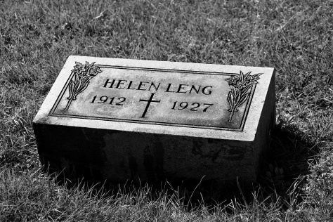 Helen Leng's grave sits just north of those of her parents, Harry and Alice Leng.