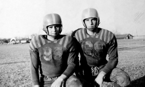 Dave Hanneman (at right) in one of his early years in Mauston football.