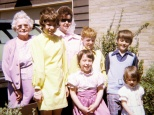 Easter Sunday in the 1970s with Grandma Margaret Mulqueen, Laura Mulqueen Curzon, Mary Hanneman, yours truly, David C. Hanneman, and in front Margret Hanneman and Amy Hanneman Bozza.