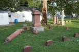 Lightning toppled this heavy monument at Calvary Cemetery in Racine, Wis.