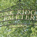 Old iron sign over the entry to Oak Ridge Cemetery, East Troy, Wis.