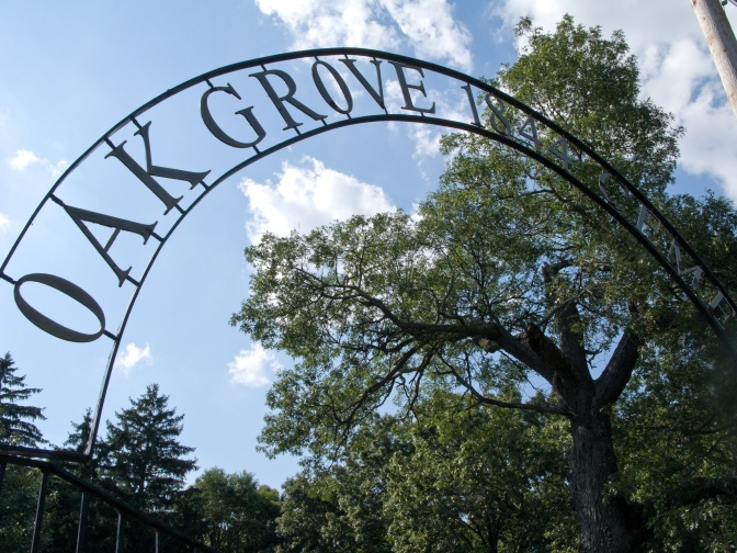 The dramatic arch over Oak Grove Cemetery in Eagle, Wis., a shameful example of cemetery neglect.