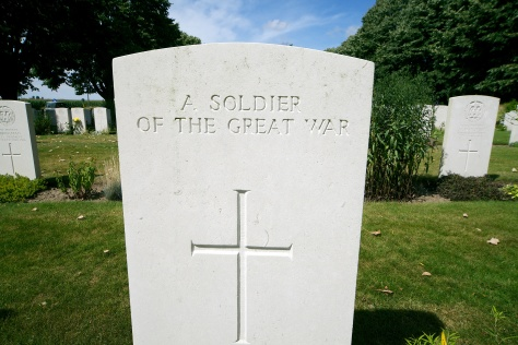 Grave of an unknown soldier near Ypres, Belgium.