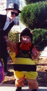 Little Ruby Hanneman as a bumblebee, helped along by brother Stevie in 2000.