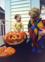 Son Stevie with Mom and the largest pumpkin we ever had, circa 1992.