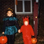 Stevie Hanneman and a friend trick or treat in a Sun Prairie neighborhood in 1994.