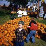 Stevie Hanneman poses before the pumpkin pile at Swan's Pumpkin Farm, circa 1995.