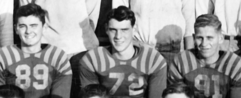 David D. Hanneman (center) played tackle, guard and on occasion, running back, for Mauston High School during the 1947-50 football seasons.