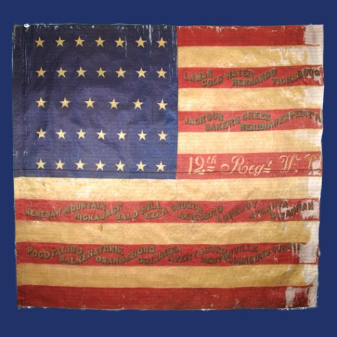 The battle flag of the Wisconsin 12th Infantry Regiment is held by the Wisconsin Veterans Museum in Madison.