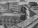 This 1973 news clipping shows the exterior of the chapel building just prior to demolition.