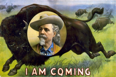 A popular poster showing Buffalo Bill Cody superimposed on an image of a buffalo. (Library of Congress Photo)