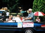 Hanneman rides down Main Street in a Sun Prairie parade.