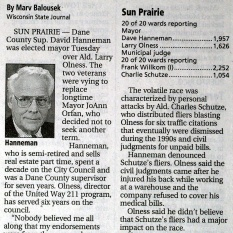 The Wisconsin State Journal's story on Hanneman's election in 2003.