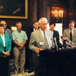 Hanneman participates in a news conference at the Wisconsin state Capitol.