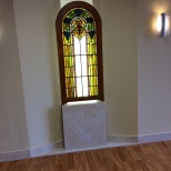 The second window crown section is on display in a third floor waiting room in the southwest wing of St. Mary's Hospital in Madison, Wis.