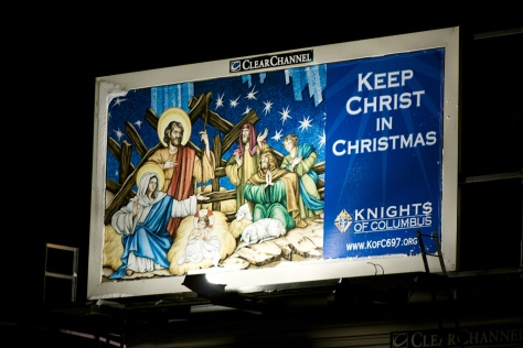 The Nativity mosaic was used on a billboard along Interstate 94 in 2009.
