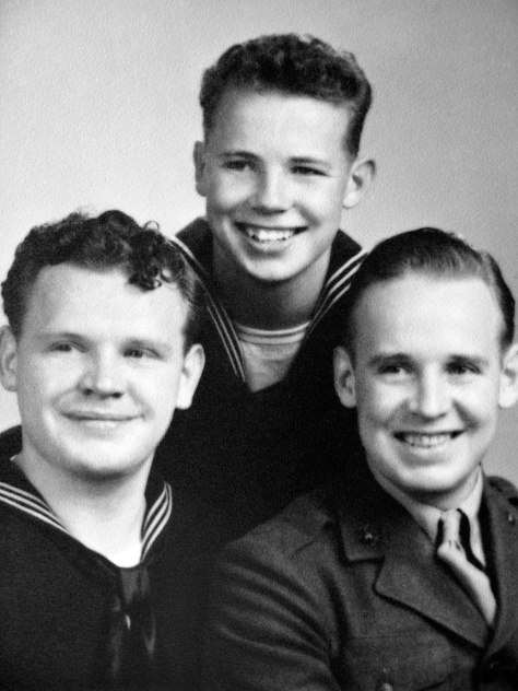Three Mulqueen brothers served in World War II: Patrick (left), Thomas (center) and Earl.