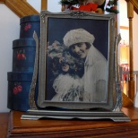 The bridal portrait of Ruby V. Hanneman in its original frame.