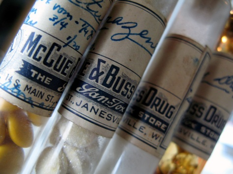 Judging by these vials from McCue & Buss Drug Co., registered pharmacists packaged both pre-made pills and medicine capsules.
